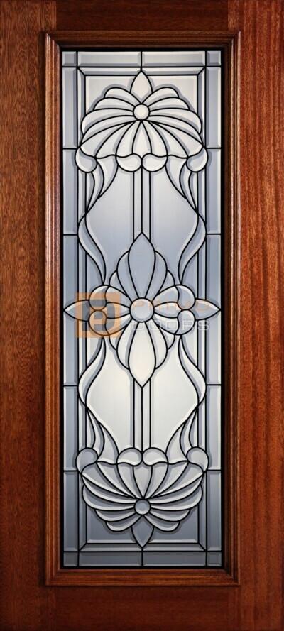 """6' 8"""" Full Lite Decorative Glass Mahogany Wood Front Door - PD 322L CB"""
