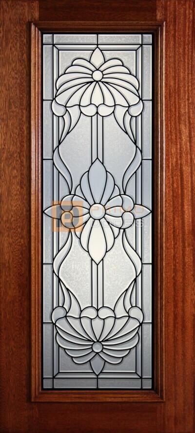 """6' 8"""" Full Lite Decorative Glass Mahogany Wood Front Door - PD 322L CBGCB"""