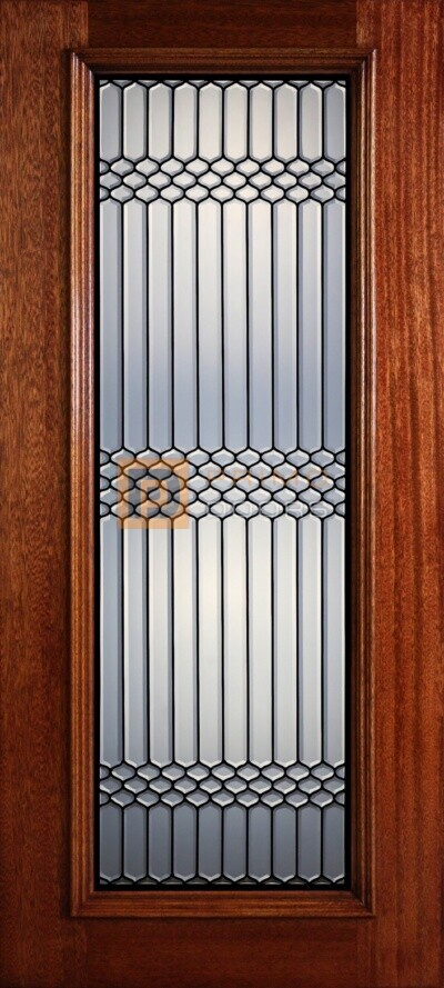 """6' 8"""" Full Lite Decorative Glass Mahogany Wood Front Door - PD 323L CB"""