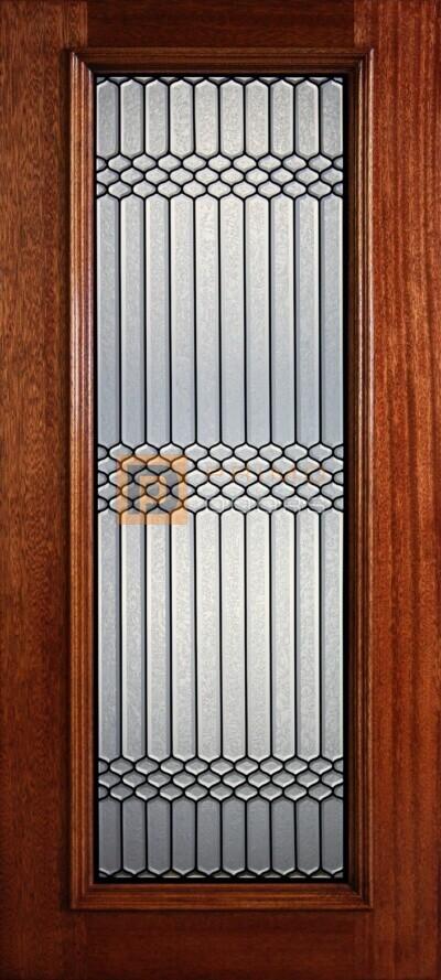 """6' 8"""" Full Lite Decorative Glass Mahogany Wood Front Door - PD 323L GCB"""