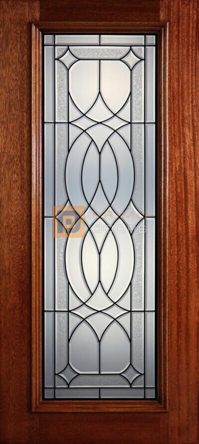 """6' 8"""" Full Lite Decorative Glass Mahogany Wood Front Door - PD 324L CBGCB"""