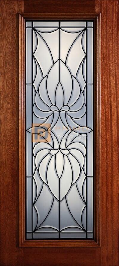 """6' 8"""" Full Lite Decorative Glass Mahogany Wood Front Door - PD 325L CB"""