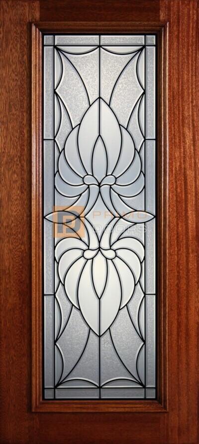 """6' 8"""" Full Lite Decorative Glass Mahogany Wood Front Door - PD 325L CBGCB"""