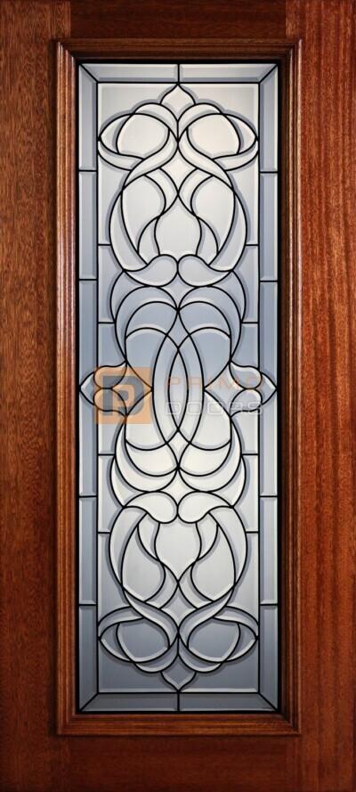 """6' 8"""" Full Lite Decorative Glass Mahogany Wood Front Door - PD 326L CB"""
