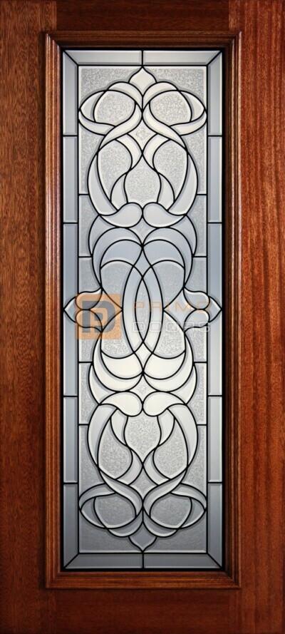 """6' 8"""" Full Lite Decorative Glass Mahogany Wood Front Door - PD 326L CBGCB"""
