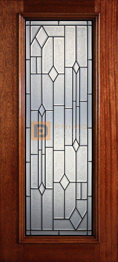 "6' 8"" Full Lite Decorative Glass Mahogany Wood Front Door - PD 33 CBGCB"
