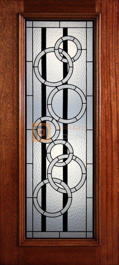 """6' 8"""" Full Lite Decorative Glass Mahogany Wood Front Door - PD 34 GCCWGBL"""