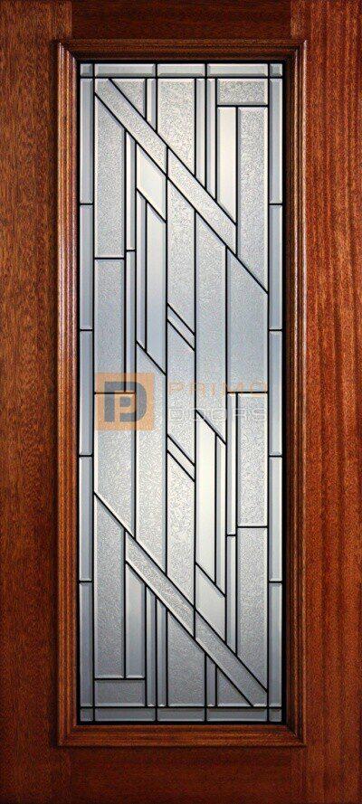 "6' 8"" Full Lite Decorative Glass Mahogany Wood Front Door - PD 36 CBGCB"