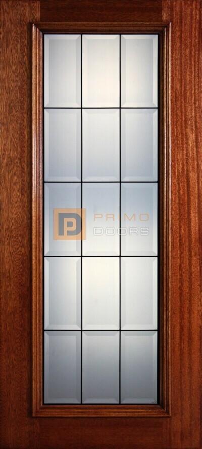 """6' 8"""" Full Lite Decorative Glass Mahogany Wood Front Door - PD 37 CB"""