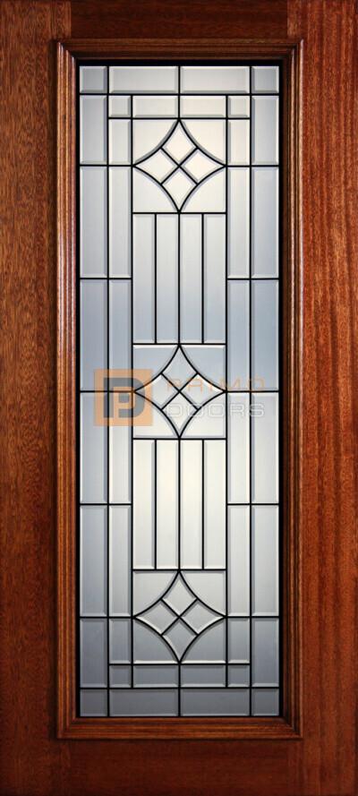 """6' 8"""" Full Lite Decorative Glass Mahogany Wood Front Door - PD 38 CB"""