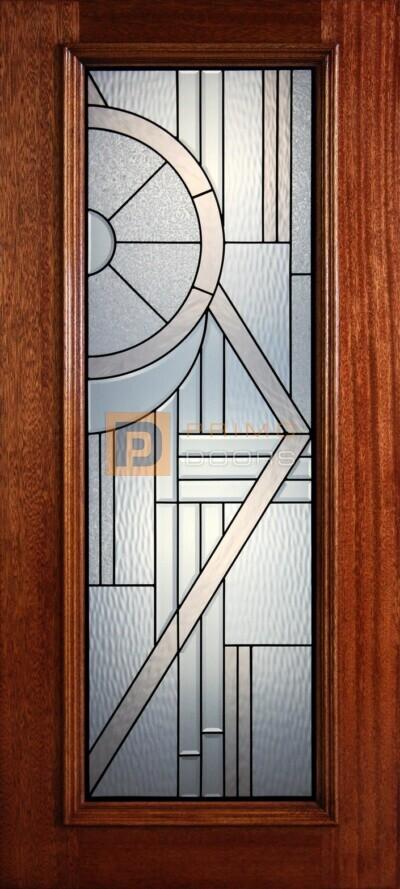 """6' 8"""" Full Lite Decorative Glass Mahogany Wood Front Door - PD 40"""
