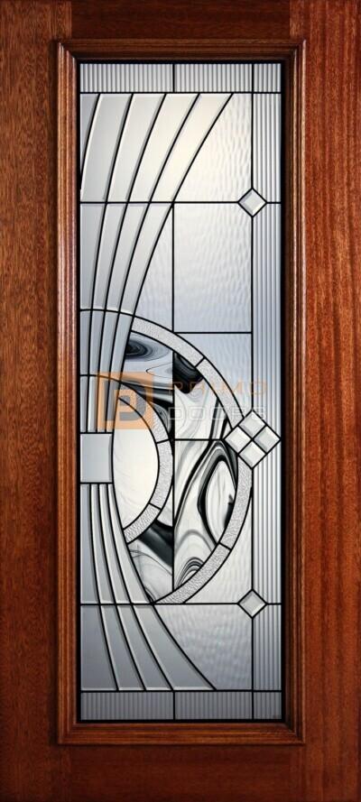 """6' 8"""" Full Lite Decorative Glass Mahogany Wood Front Door - PD 41"""
