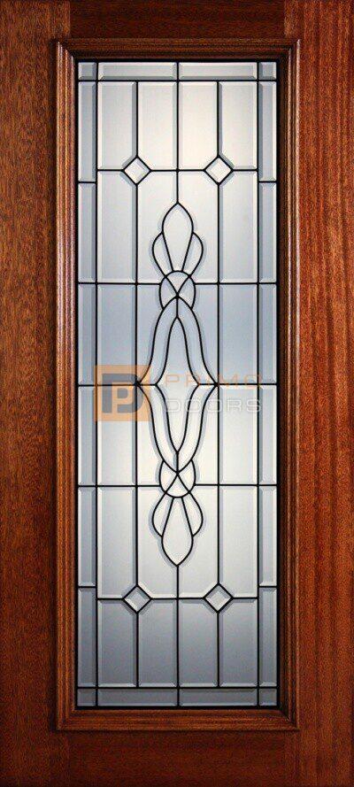 """6' 8"""" Full Lite Decorative Glass Mahogany Wood Front Door - PD 6 CB"""
