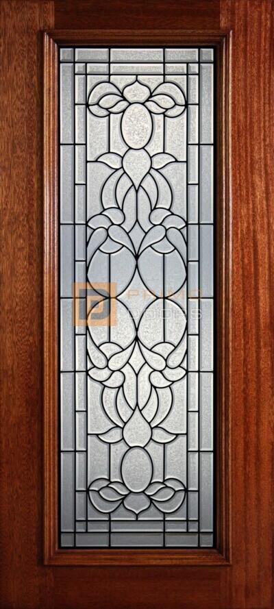 """6' 8"""" Full Lite Decorative Glass Mahogany Wood Front Door - PD 901L GCB"""