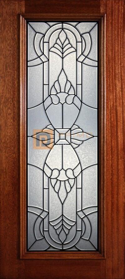 """6' 8"""" Full Lite Decorative Glass Mahogany Wood Front Door - PD 902L GCB"""