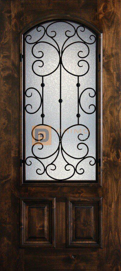 "6' 8"" Knotty Alder Exterior Front Door with Glass."