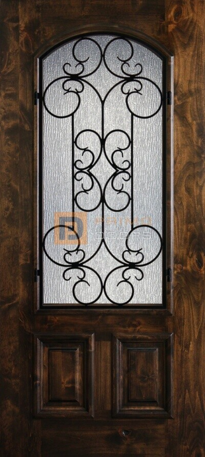 "6' 8"" Knotty Alder 2/3 Lite Decorative Glass Wood Front Door - PD KA 3068-23A SIEN"