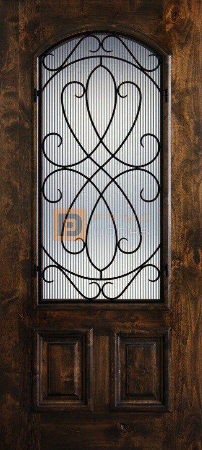 "6' 8"" Knotty Alder 2/3 Lite Decorative Glass Wood Front Door - PD KA 3068-23A WHIT"