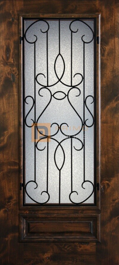 6′ 8″ 3/4 Lite Knotty Alder Decorative Glass with Iron Grill Single Iron Front Door – PD KA 3068-34 BARC