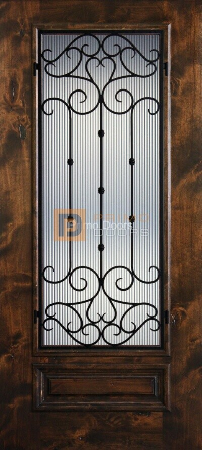 6′ 8″ Knotty Alder 3/4 Lite Decorative Glass with Iron Grill Single Iron Front Door – PD KA 3068-34 CORD