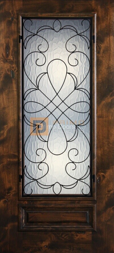 6′ 8″ Knotty Alder 3/4 Lite Decorative Glass with Iron Grill Single Iron Front Door – PD KA 3068-34 HAMM
