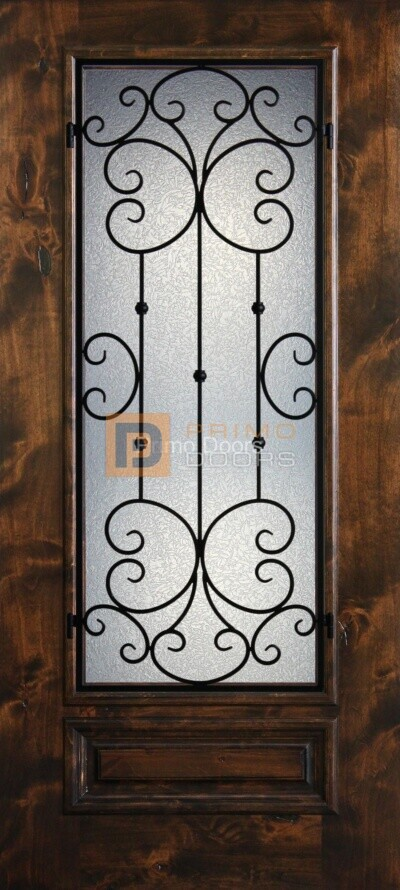 6′ 8″ Knotty Alder 3/4 Lite Decorative Glass with Iron Grill Single Iron Front Door – PD KA 3068-34 SANT