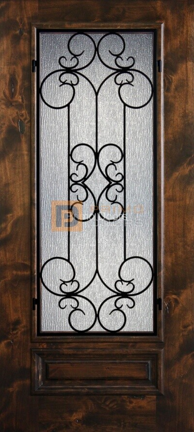 6′ 8″ Knotty Alder 3/4 Lite Decorative Glass with Iron Grill Single Iron Front Door – PD KA 3068-34 SIEN