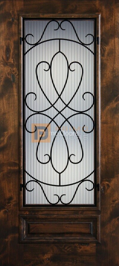 6′ 8″ Knotty Alder 3/4 Lite Decorative Glass with Iron Grill Single Iron Front Door – PD KA 3068-34 WHIT