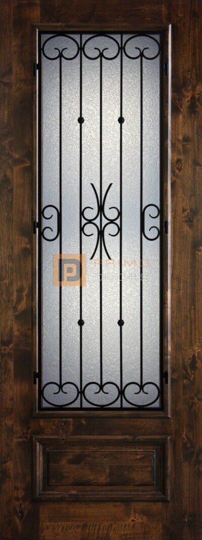 8' 3/4 Lite Knotty Alder Decorative Glass with Iron Grill Single Iron Front Door - PD KA 3080-34 BALF