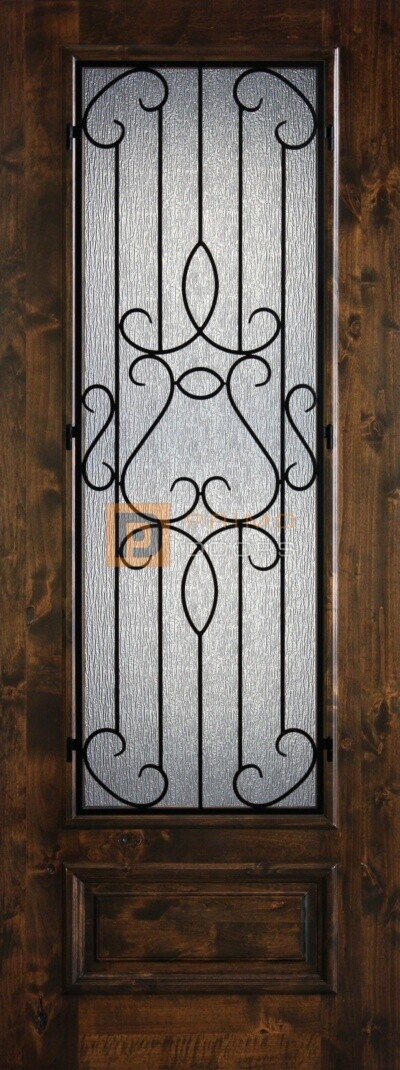 8' 3/4 Lite Knotty Alder Decorative Glass with Iron Grill Single Iron Front Door - PD KA 3080-34 BARC