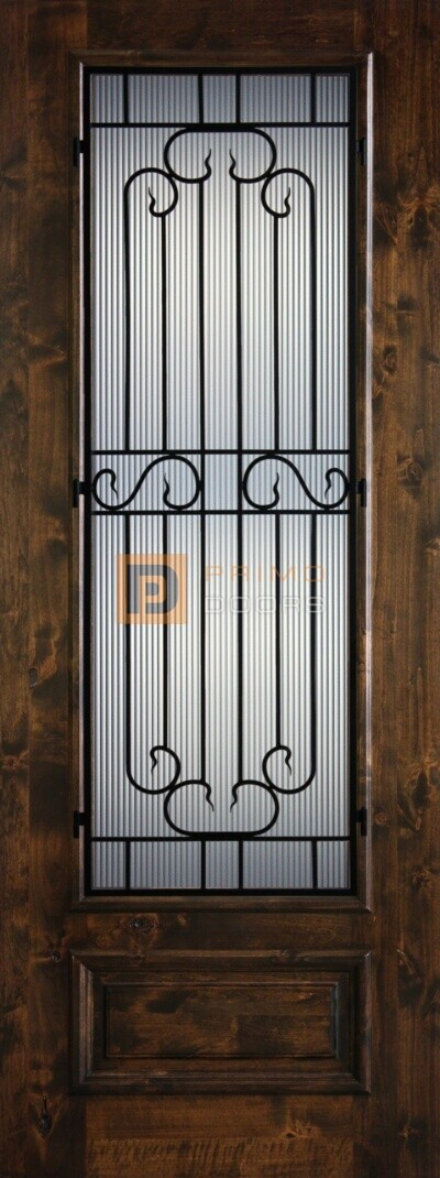 8' 3/4 Lite Knotty Alder Decorative Glass with Iron Grill Single Iron Front Door