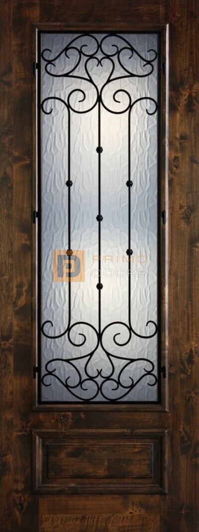 8′ 3/4 Lite Knotty Alder Decorative Glass with Iron Grill Single Iron Front Door – PD KA 3080-34 CORD