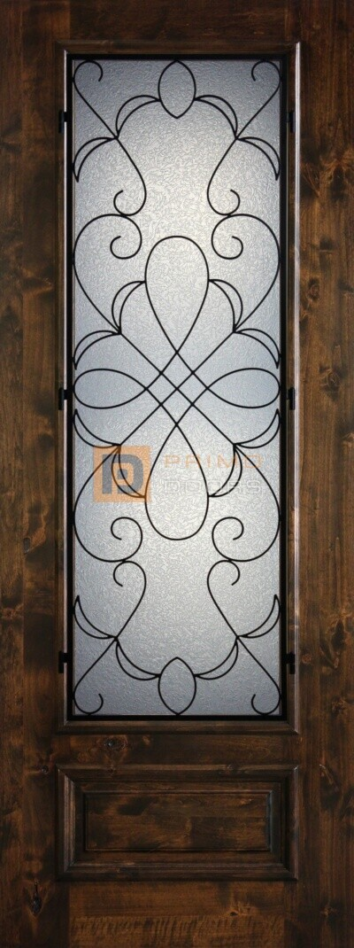 8′ 3/4 Lite Knotty Alder Decorative Glass with Iron Grill Single Iron Front Door – PD KA 3080-34 HAMM