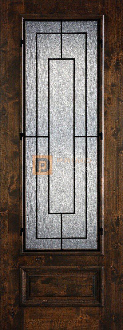 8′ 3/4 Lite Knotty Alder Decorative Glass with Iron Grill Single Iron Front Door – PD KA 3080-34 SALT