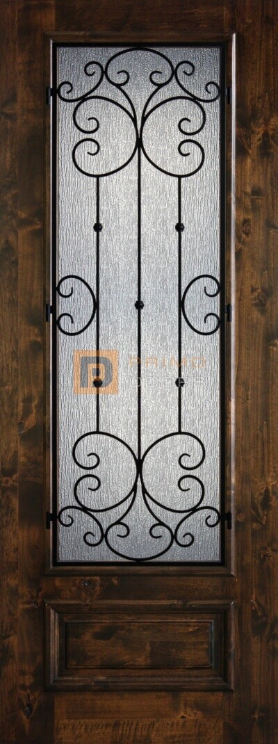 8′ 3/4 Lite Knotty Alder Decorative Glass with Iron Grill Single Iron Front Door – PD KA 3080-34 SANT