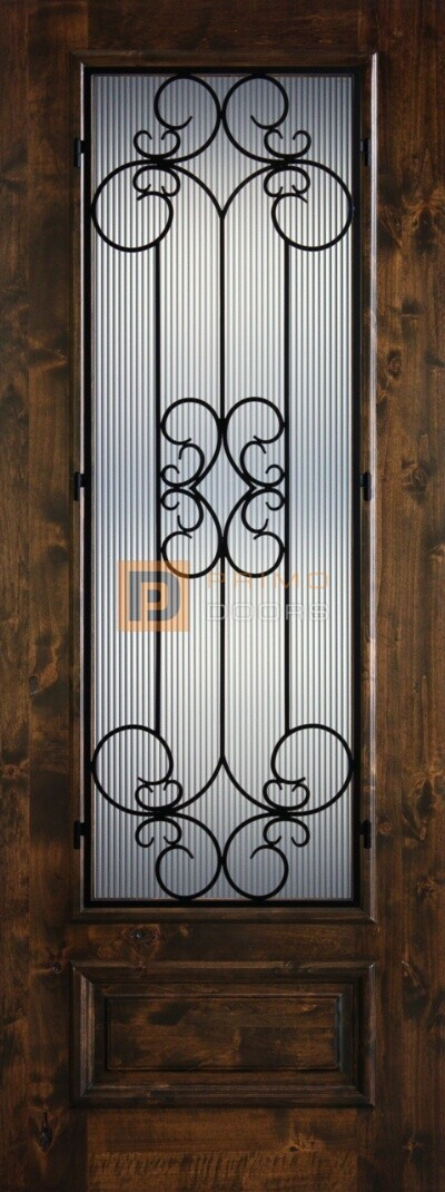 8′ 3/4 Lite Knotty Alder Decorative Glass with Iron Grill Single Iron Front Door – PD KA 3080-34 SIEN