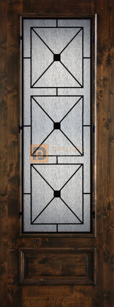 8′ 3/4 Lite Knotty Alder Decorative Glass with Iron Grill Single Iron Front Door – PD KA 3080-34 SOUT