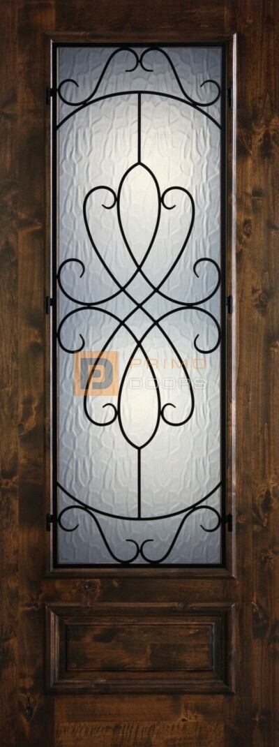 8′ 3/4 Lite Knotty Alder Decorative Glass with Iron Grill Single Iron Front Door – PD KA 3080-34 WHIT