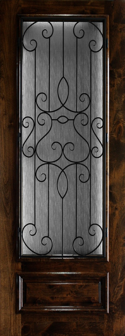 8' Knotty Alder Wood Front Door with Glass and Iron Grill