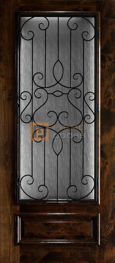 6′ 8″ 3/4 Lite Knotty Alder Decorative Glass with Iron Grill Single Iron Front Door – PD KA 3680-34 BARC