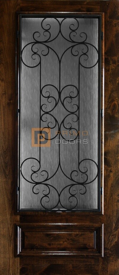 6′ 8″ 3/4 Lite Knotty Alder Decorative Glass with Iron Grill Single Iron Front Door – PD KA 3680-34 SIEN