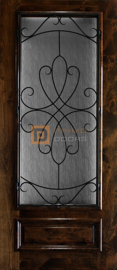 6′ 8″ 3/4 Lite Knotty Alder Decorative Glass with Iron Grill Single Iron Front Door – PD KA 3680-34 WHIT