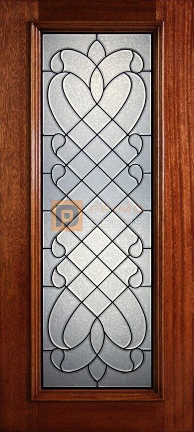 "6' 8"" Full Lite Decorative Glass Mahogany Wood Front Door - PD801 GCB"